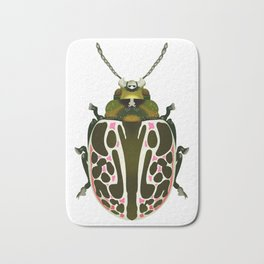 Green, White, Pink Beetle Bath Mat