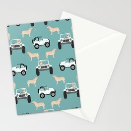 Labrador yellow lab jeep cute dog gifts dog lover pet art Stationery Cards