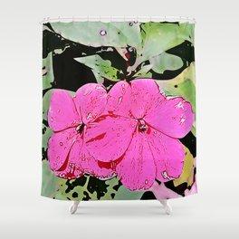 pink Impatiens - flower Shower Curtain