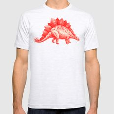 Red Stegosaurus  Mens Fitted Tee X-LARGE Ash Grey