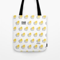 chad wys Tote Bags featuring Chad Cheese by Infinite Awesome