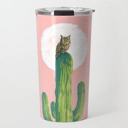 Quirky owl on saguaro cactus Travel Mug