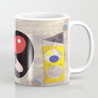 50s Mugs featuring Atomic 50s 60s Inspired Retro Collage Abstract Pink by Beatrice Roberts