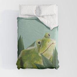 Frog sitting between agave leaves Comforters