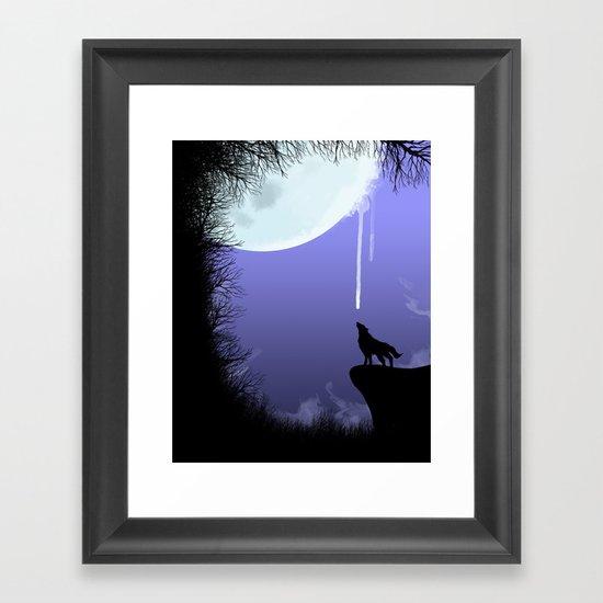 wolf drinking moon Framed Art Print