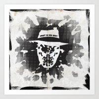 rorschach Art Prints featuring Rorschach by Vickn