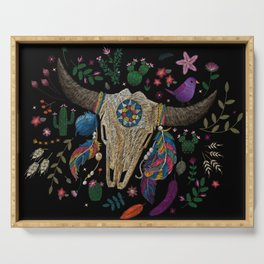 Bull Skull Embroidery Serving Tray