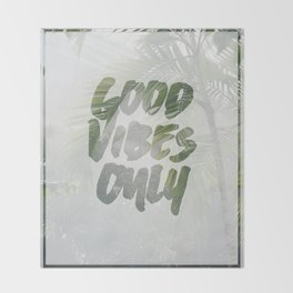 Good Vibes Only Palm Trees Throw Blanket