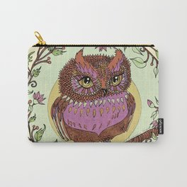 Small Pink Owlet With Wildflower Wreath Carry-All Pouch