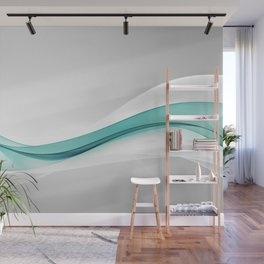 Teal Wave Abstract Wall Mural