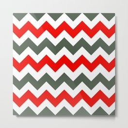 Chevron Pattern In Poppy Red Grey and White Metal Print