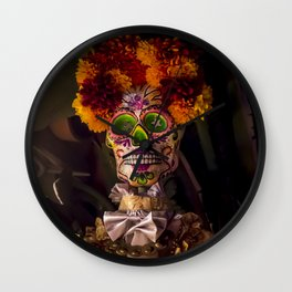 Day of the Dead Skeleton Lady with Beautiful Red and Orange Floral Crown Wall Clock
