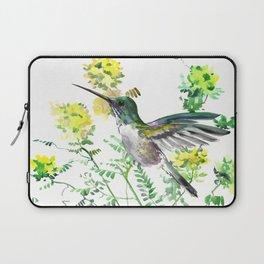 mmingbird design green yew Hummingbird and Yellow Flowers Laptop Sleeve