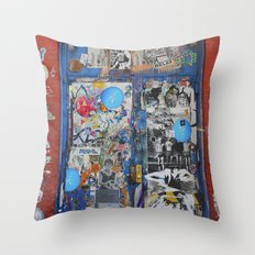 Graffiti Door NYC Throw Pillow