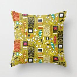 tiki yellow Throw Pillow