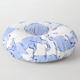 Cat Crazy blue white Floor Pillow