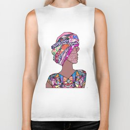 Woman in Colors - 7 - A pedestal is as much a prison as any small, confined space. Biker Tank