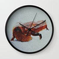 fox Wall Clocks featuring Fox by Andreas Lie