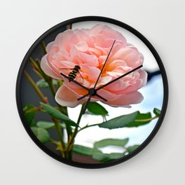 Bee on Pink Flower Wall Clock