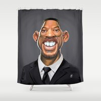 actor Shower Curtains featuring Celebrity Sunday ~ Will Smith by rob art | illustration