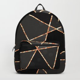 Black and grey shapes with orange lines Backpack