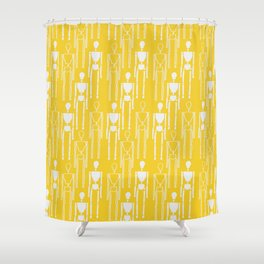 Mustard Yellow and White, Modern People Pattern. Shower Curtain