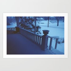 porch snow. Art Print