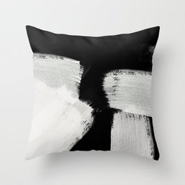 brush stroke black white painted Throw Pillow