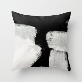 brush stroke black white painted Throw Pillow