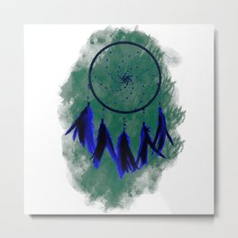 Dreamcatcher Deep Blue Darkness: Green background Metal Print