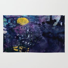 Rain On A Sunny Day - Colorful Dark Contemporary Abstract Rug