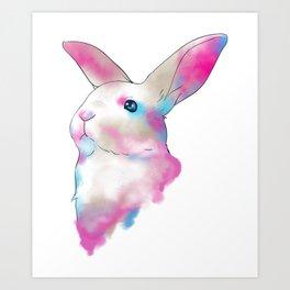 Cute Space Rainbow Gaussian Blur Rabbit Art Print