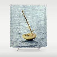 selena gomez Shower Curtains featuring Stone-Sailboat on a Silver Sea by Menchulica