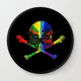 Skull and Bones Multicolor Wall Clock