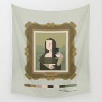 mona lisa Wall Tapestries featuring Mona Lisa Selfie by Momo Production