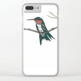 Hummingbird on a branch Clear iPhone Case