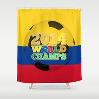 colombia Shower Curtains featuring 2014 World Champs Ball - Colombia by crouchingpixel