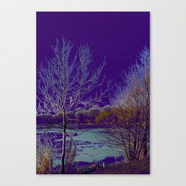 Frozen Lake and Purple Sky Canvas Print