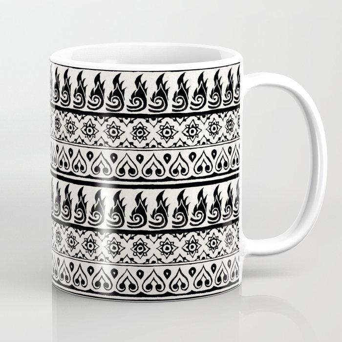 Thai Fabric Patterns - Black and White Coffee Mug
