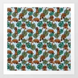 Tropical Redbone Coonhound Art Print