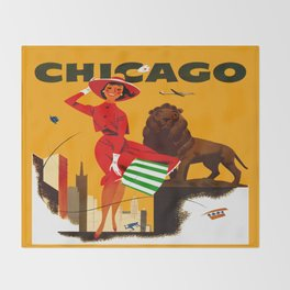 Vintage Chicago Illinois Travel Throw Blanket