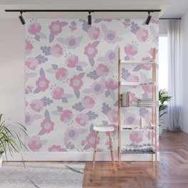 Hand painted pastel pink lavender modern floral Wall Mural