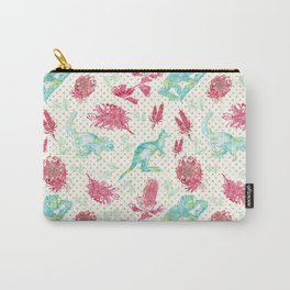Beautiful Australian Animals and Flowers on Gold Polka Dots Carry-All Pouch