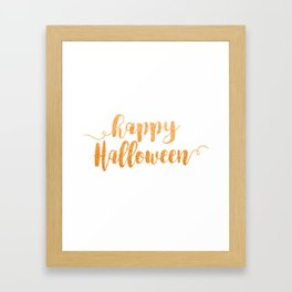 Happy Halloween | Orange Glitter Framed Art Print