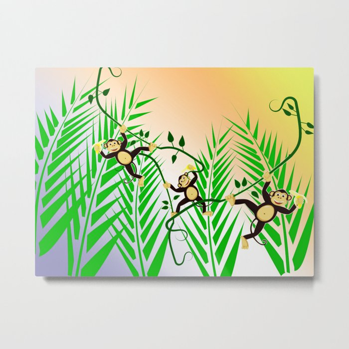Funny Monkeys Metal Print