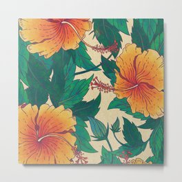 Orange Hibiscus Flowers Metal Print