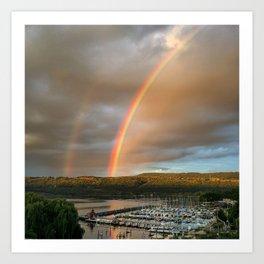 Sunset Rainbow over Seneca Art Print