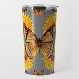 GREY ART BUTTERFLIES & YELLOW SUNFLOWERS NATURE Travel Mug