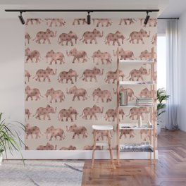 Cute Girly Pink Rose Gold Polka Dot Elephants Wall Mural