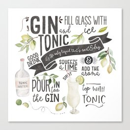 Gin Tonic Recipe In Watercolor Canvas Print